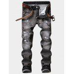 Zipper Fly Cat and Flower Embroidered Design Ripped Jeans - GRAY