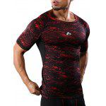 Raglan Sleeve Camouflage Quick Dry Stretchy Gym T-shirt - RED