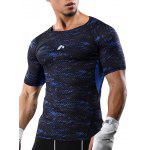 Raglan Sleeve Camouflage Quick Dry Stretchy Gym T-shirt - BLUE