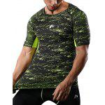 Raglan Sleeve Camouflage Quick Dry Stretchy Gym T-shirt - GREEN
