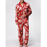 Dragon Printed Long Sleeves Pajamas Set - WINE RED