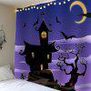 Halloween Night Town with Batwing Waterproof Tapestry - LIGHT PURPLE