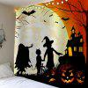 Halloween Moon Night Evil Pumpkin Waterproof Tapestry - COLORFUL