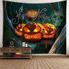 Waterproof Halloween Pumpkin Night Forest Tapestry - COLORFUL