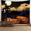 Halloween Night Moon Pumpkin Waterproof Wall Hanging Tapestry - GRAY
