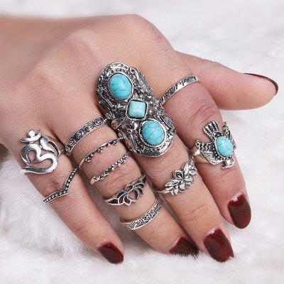 Faux Turquoise Fly Eagle Floral Ring Set