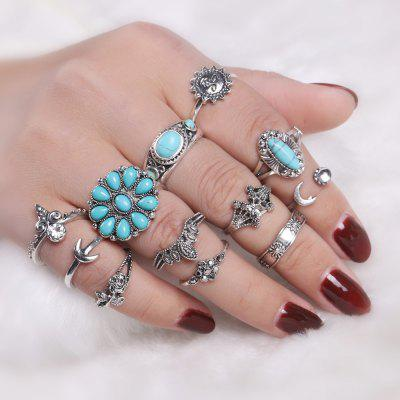 Faux Turquoise Sun Moon Flower Ring Set