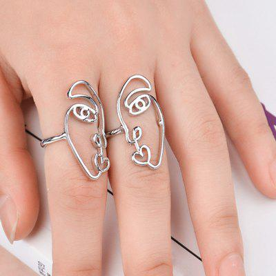 Alloy Funny Heart Face Ring Set