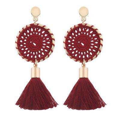 Crochet Floral Tassel Drop Earrings