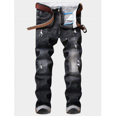 Buy DEEP GRAY Zipper Fly Destroy Wash Embellished Pocket Ripped Jeans for $44.28 in GearBest store
