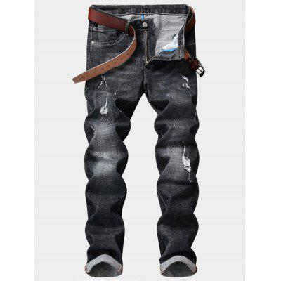 Zipper Fly Destroy Wash Straight Leg Ripped Jeans