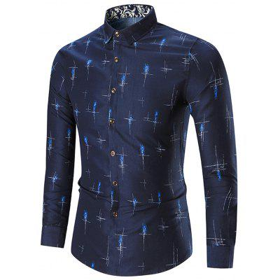 Buy CADETBLUE 7XL Printed Long Sleeve Plus Size Shirt for $19.14 in GearBest store