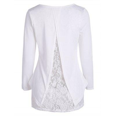 Lace Panel Long Sleeve High Low T Shirt