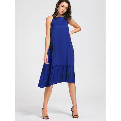 Buy BLUE L Flounces High Neck Midi Dress for $27.25 in GearBest store