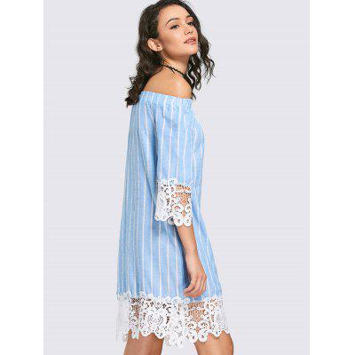 Lace Insert Striped Shift DressWomens Dresses<br>Lace Insert Striped Shift Dress<br><br>Dresses Length: Knee-Length<br>Material: Polyester<br>Neckline: Off The Shoulder<br>Occasion: Causal, Going Out<br>Package Contents: 1 x Dress<br>Pattern Type: Patchwork, Striped<br>Season: Spring, Fall<br>Silhouette: Straight<br>Sleeve Length: 3/4 Length Sleeves<br>Style: Casual<br>Weight: 0.2800kg<br>With Belt: No