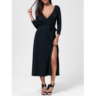 Buy BLACK S Plunging Neck Long Sleeve High Slit Maxi Evening Dress for $21.72 in GearBest store