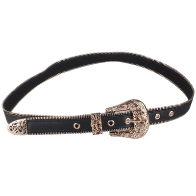 Retro Engraved Pin Buckle Faux Leather Belt