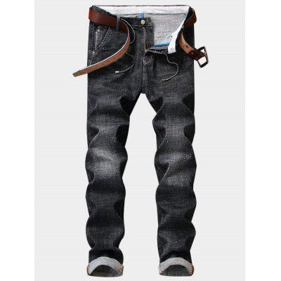 Buy DEEP GRAY 32 Zipper Fly String Embellished Distressed Jeans for $44.59 in GearBest store