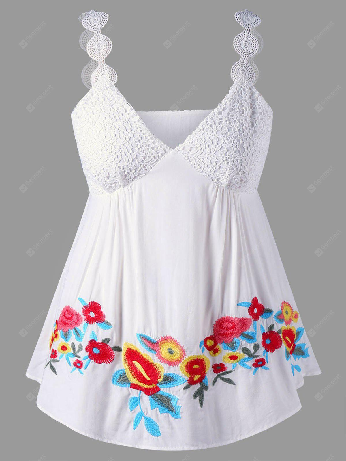 Plus Size Empire Waist Embroidery Top