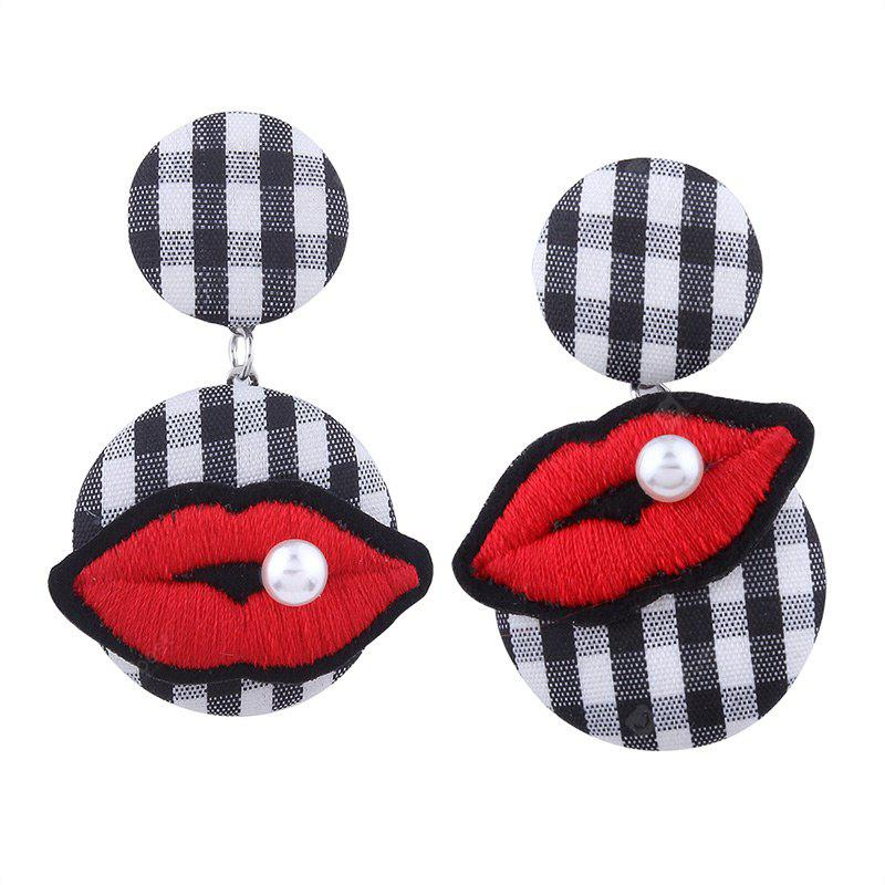 Faux Pearl Lips Embroidery Plaid Earrings