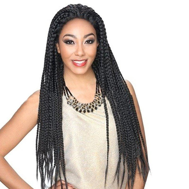 Long Three Strand Box Braided Lace Front Synthetic Wig