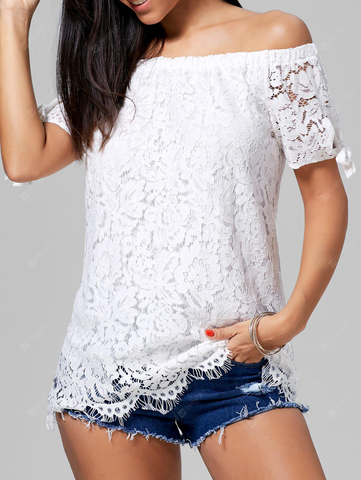 Off The Shoulder Lace Tunic Blusa