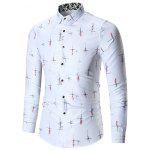 Printed Long Sleeve Plus Size Shirt - WHITE