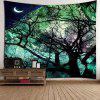 Moon Tree Wall Hanging Tapestry - LIGHT GREEN