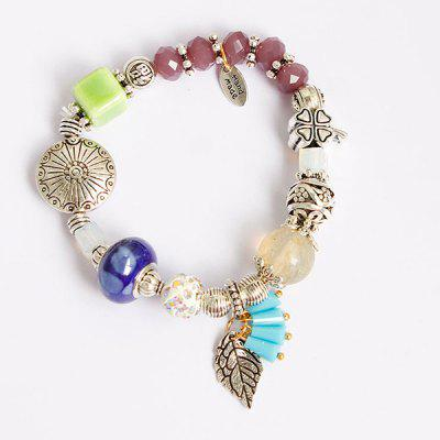 Buy COLORMIX Rhinestone Clover Leaf Charm Beaded Bracelet for $4.63 in GearBest store