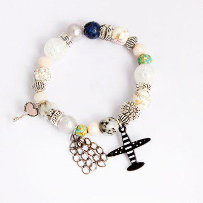 Buy COLORMIX Airplane Heart Key Charm Beaded Bracelet for $4.47 in GearBest store