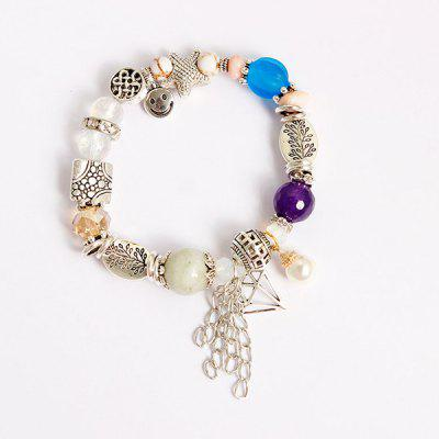 Starfish Smile Fringed Charm Beaded Bracelet