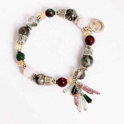 Faux Crystal Smile Charm Beaded Bracelet