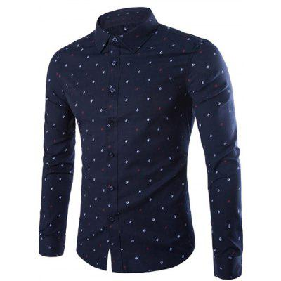 Buy CADETBLUE XL Turndown Collar Sailboat Print Shirt for $24.74 in GearBest store