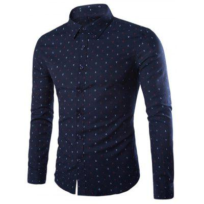 Turndown Collar Anchor Print Shirt