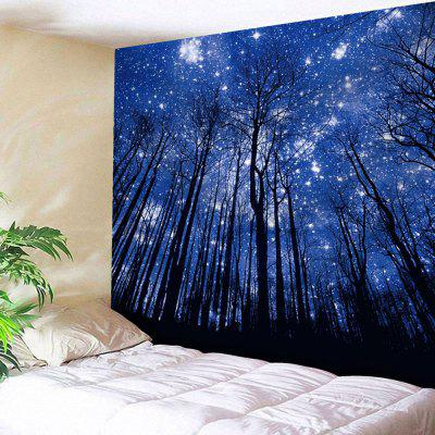 Buy DEEP BLUE Wall Hanging Forest Print Tapestry for $22.23 in GearBest store
