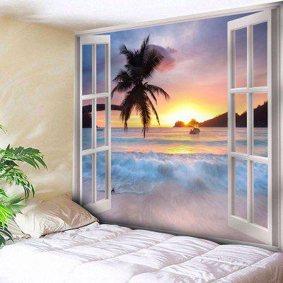 Buy COLORMIX Window Scenery Print Wall Hanging Microfiber Tapestry for $20.64 in GearBest store