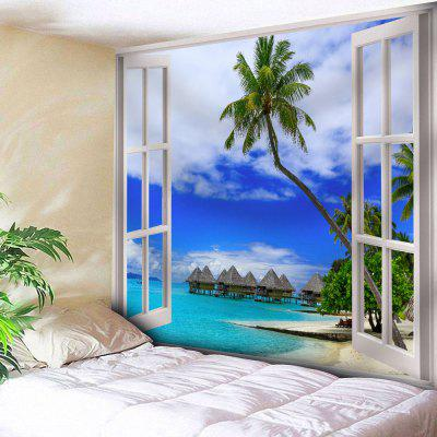 Buy BLUE Window Print Wall Hanging Coconut Tree Tapestry for $18.28 in GearBest store