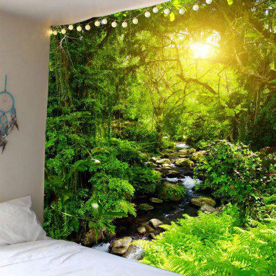 Buy GREEN Forest Stream Sunlight Waterproof Wall Hanging Tapestry for $22.12 in GearBest store