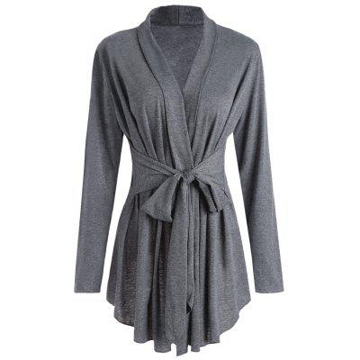 Buy GRAY L Shawl Collar Marled Wrap Cardigan for $21.62 in GearBest store