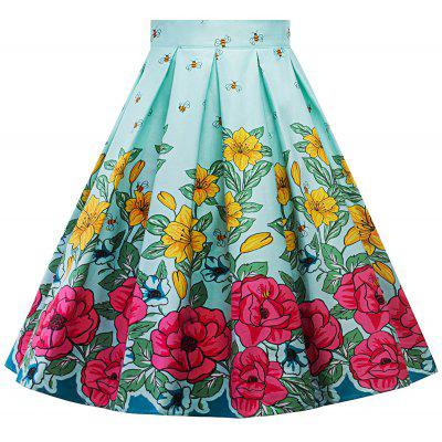 Floral A Line Plus Size Skirt