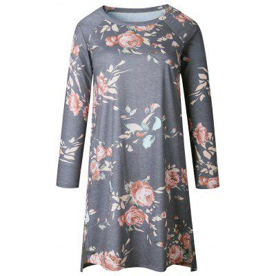 Buy GRAY L Casual Floral Long Sleeve Shift Dress for $21.04 in GearBest store