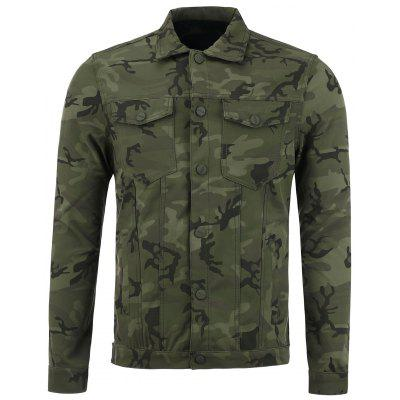 Double Pockets Single Breasted Camouflage Jacket