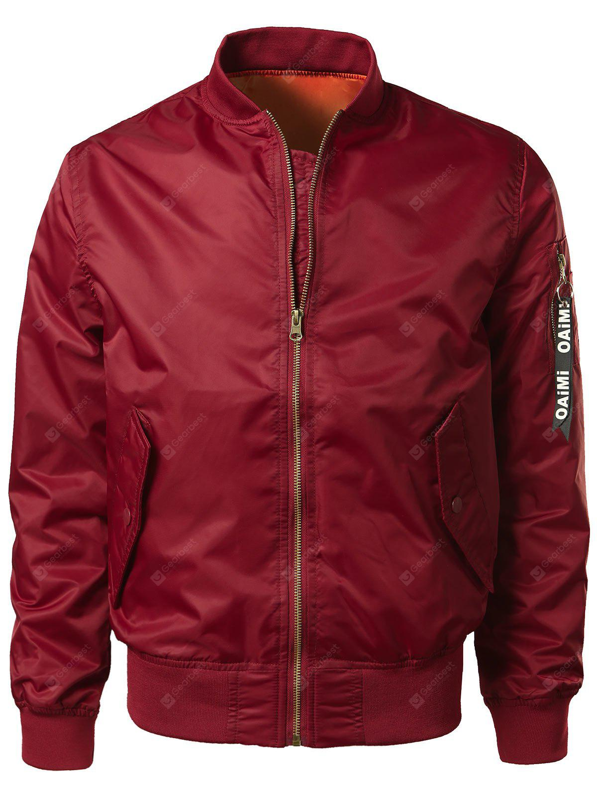 Zip Up Bomber Jacket with Pocket Detail