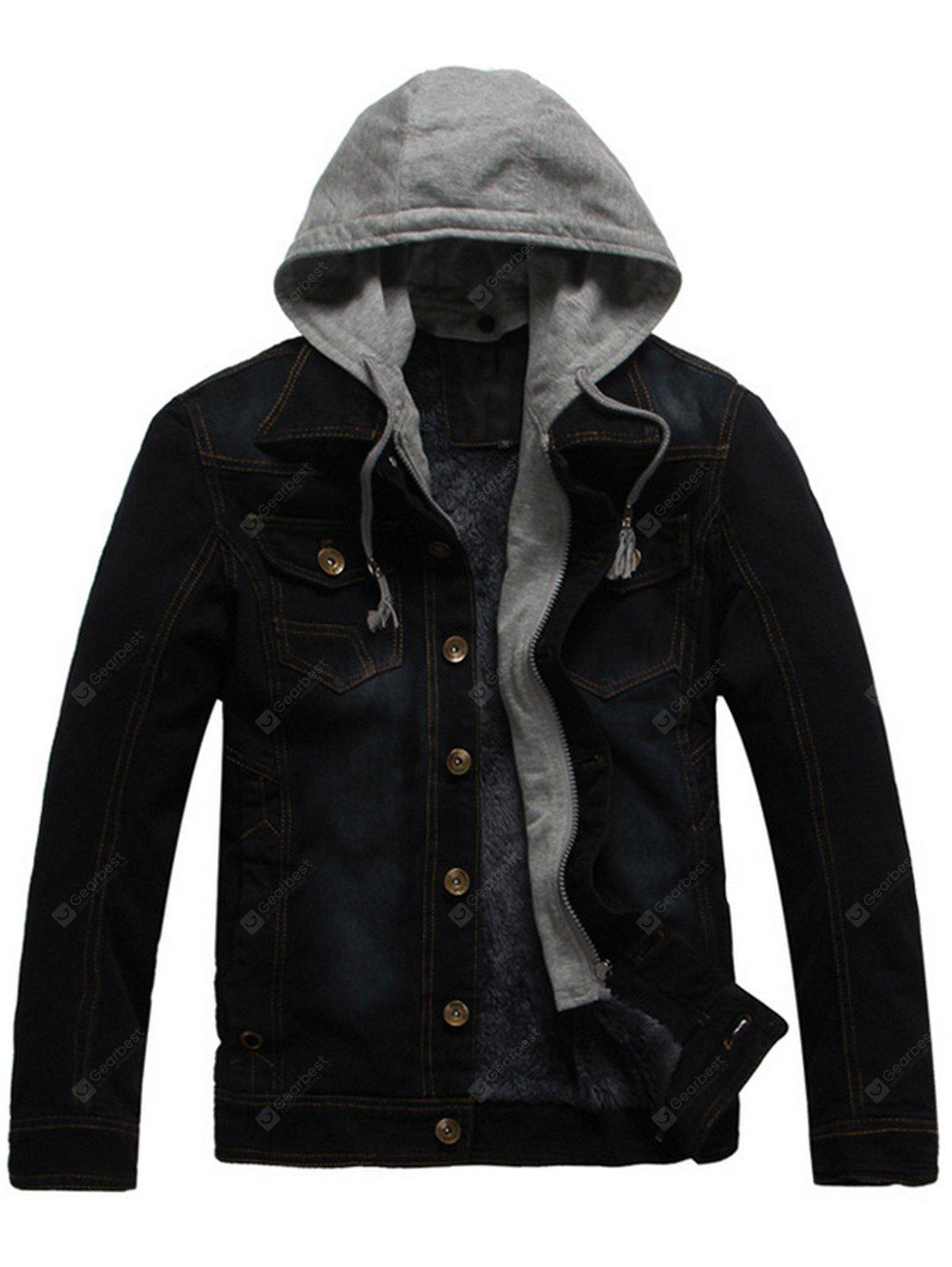 Pocket Design Detachable Hood Denim Jacket