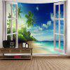 Window Beach Print Wall Hanging Tapestry - BLUE