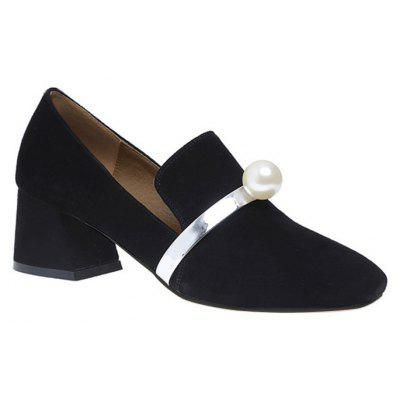 Block Heel Square Toe Faux Pearl Pumps
