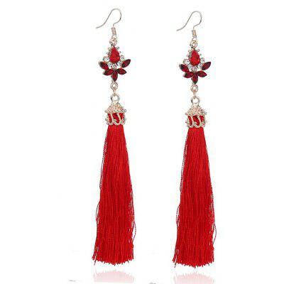 Rhinestone Teardrop Tassel Long Hook Earrings
