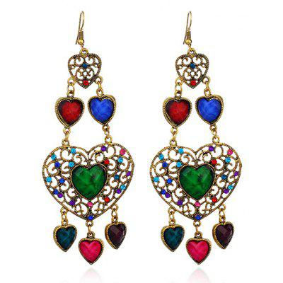 Rhinestone Heart Hook Chandelier Earrings