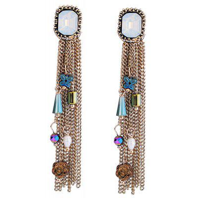 Tiny Pendant Embellished Fringed Rhinestone Drop Earrings