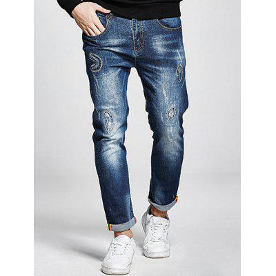 Buy DENIM BLUE Plus Size Zip Fly Stitching Jeans for $45.48 in GearBest store